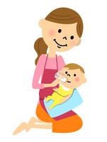 ミルクを飲む赤ちゃん ママ