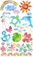 水彩風夏のイラスト