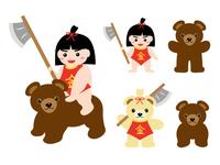 こどもの日 金太郎と熊のイラストセット