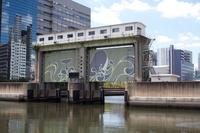初夏の目黒川水門