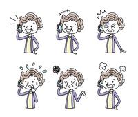 電話:シニア女性、セット、バリエーション