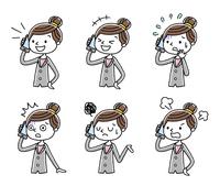 電話:ビジネス、女性、セット、バリエーション