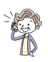 電話:シニア女性、話す