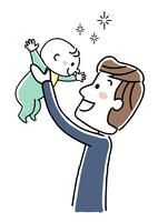 赤ちゃんを抱き上げる若い父親