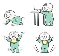 赤ちゃん:ハイハイ、つかまり立ち、立つ、歩く