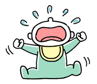 赤ちゃん:暴れながら叫ぶように大泣きする