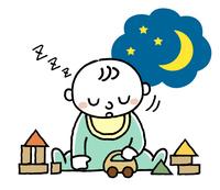 赤ちゃん:夜におもちゃで遊びながら眠る