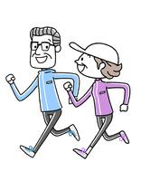 スポーツ:ジョギングするシニア夫婦