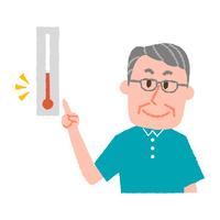 気温をチェックする高齢男性