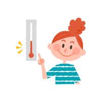 気温をチェックする女性