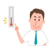 気温をチェックするビジネスマン