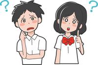 疑問を持つ学生のイラスト(男女)