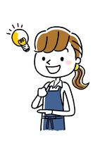 エプロン姿の女性:アイデア、発想