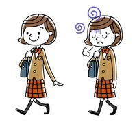 女子学生:歩く、セット、バリエーション