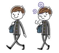 男子学生:歩く、セット、バリエーション