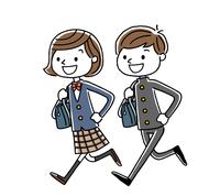 男子学生と女子学生:走る