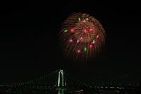 レインボーブリッジと花火 東京湾大華火祭
