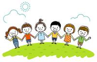 子供たち:みんなで手をつなぐ