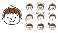 男の子の表情:セット、バリエーション