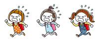 走って通学する女の子たち:セット