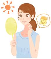 UVケアをする女性のイラスト