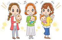 お母さんと赤ちゃんのイラスト(全身)