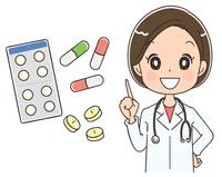 薬と女性医師のイラスト