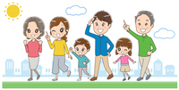 歩いている三世代家族のイラスト