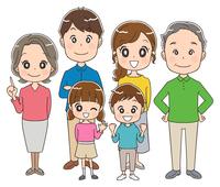 三世代家族のイラスト