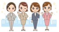 スーツを着た女性のイラスト(オフィス街 全身)