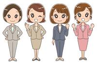 スーツを着た女性のイラスト(全身)