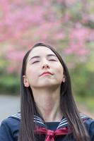 桜の前で空を見上げる女学生