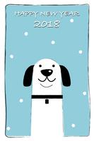 年賀状2018 いぬと雪