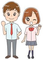 高校生のイラスト(全身)