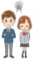 悩んでいる高校生のイラスト(全身)