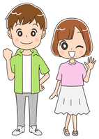 10代の男女のイラスト(全身)