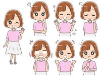 私服の女子高校生のイラスト(セット・全身)