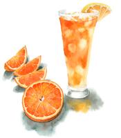 カットオレンジとオレンジジュース