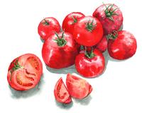 トマトの山とカットトマト