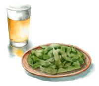 グラスビールと枝豆