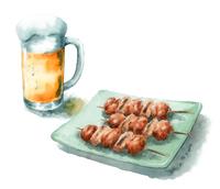 ジョッキビールと焼き鳥