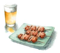 グラスビールと焼き鳥