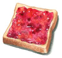 いちごジャムをつけたトースト