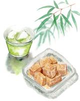 わらびもちと冷たい緑茶と笹の葉