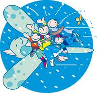 冬空に飛んでる家族