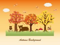 秋の森の動物たち