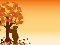 くまと秋の木