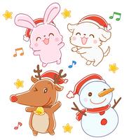 クリスマスの動物のセット