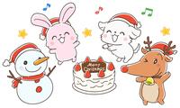 クリスマスケーキを囲む動物たちのイラスト、