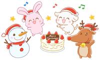 クリスマスケーキを囲む動物たちのイラスト